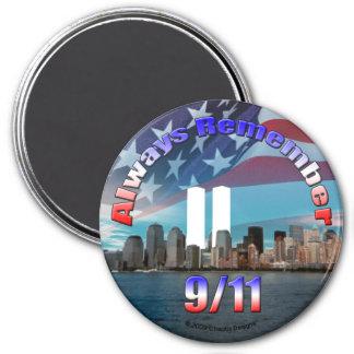 Rappelez-vous toujours 9/11 magnet rond 7,50 cm