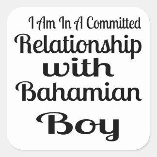 Rapport avec le garçon bahamien sticker carré