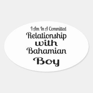 Rapport avec le garçon bahamien sticker ovale