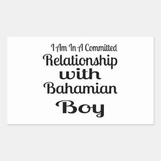 Rapport avec le garçon bahamien sticker rectangulaire
