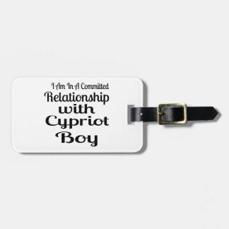 Rapport avec le garçon chypriote étiquette à bagage
