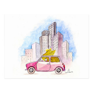 Rapunzel conduit Mini Cooper Carte Postale