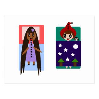 Rapunzel peu de Sleepover rouge Cartes Postales
