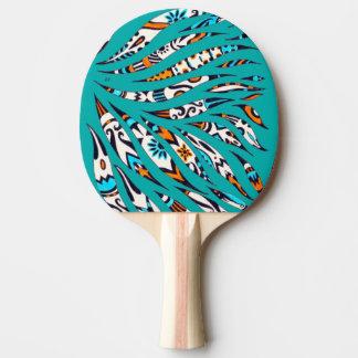 Raquette De Ping Pong Art génial noir d'encre Teal de motif