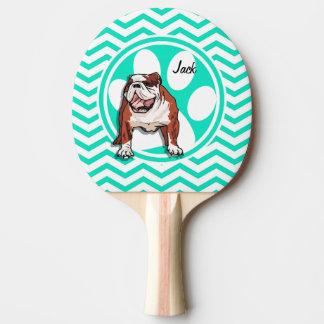 Raquette De Ping Pong Bouledogue ; Aqua Chevron vert