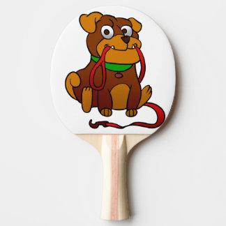 Raquette De Ping Pong Bouledogue mordant son collier