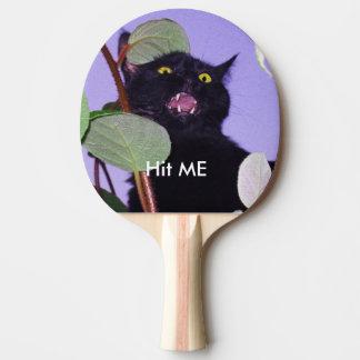 Raquette De Ping Pong Chat noir fâché fait sur commande de Halloween