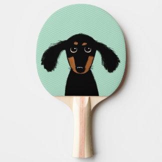 Raquette De Ping Pong Chiot aux cheveux longs mignon de teckel