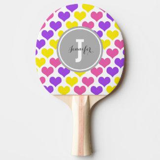 Raquette De Ping Pong Coeurs multicolores personnalisés