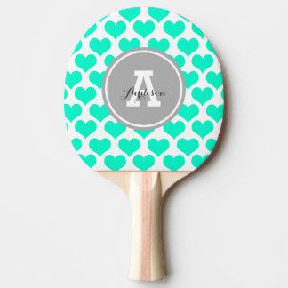 Raquette De Ping Pong Coeurs personnalisés d'Aqua