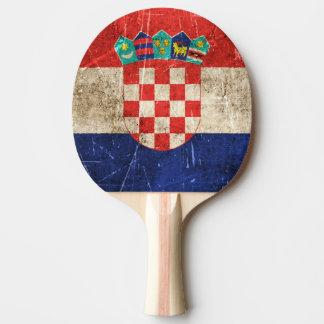 Raquette De Ping Pong Drapeau âgé et rayé de cru de la Croatie
