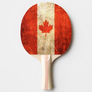 Raquette De Ping Pong Drapeau canadien vintage rayé et porté