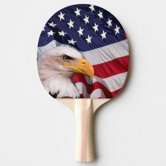 Raquette De Ping Pong Eagle chauve avec le drapeau américain