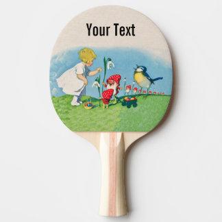 Raquette De Ping Pong Elfes de gnome de Pâques Lilly de fille chantant