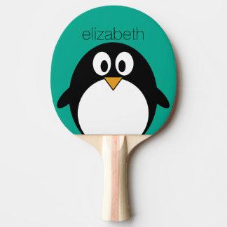 Raquette De Ping Pong émeraude mignonne et noir de pingouin de bande
