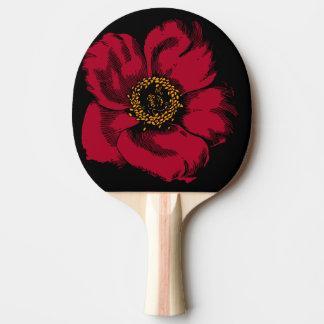 Raquette De Ping Pong fleur rouge