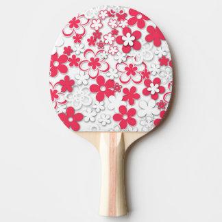 Raquette De Ping Pong Fleurs de livre blanc rouge et