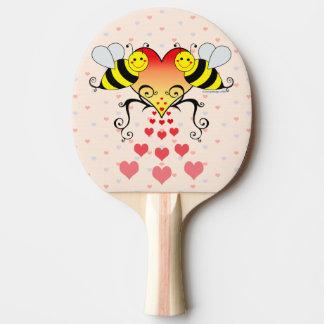 Raquette De Ping Pong Gaffez les abeilles avec la conception de coeurs