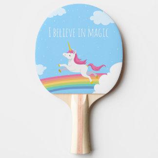 Raquette De Ping Pong Je crois en arc-en-ciel magique de licorne