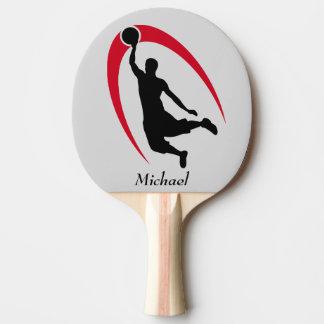 Raquette De Ping Pong Joueur de basket rouge noir personnalisé