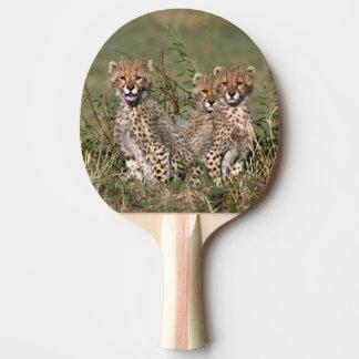 Raquette De Ping Pong L'Afrique ; Le Kenya ; Masai Mara ; Trois petits