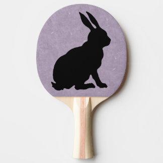 Raquette De Ping Pong Lapin de Pâques noir de silhouette de lapin