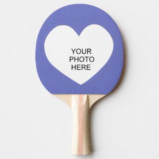 Raquette De Ping Pong Le coeur sur le bleu ajoutent le cadre de photo
