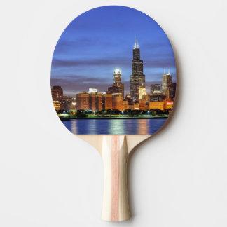 Raquette De Ping Pong L'horizon de Chicago du planétarium d'Adler
