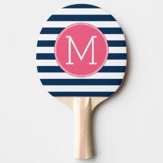 Raquette De Ping Pong Marine et monogramme blanc de roses indien de