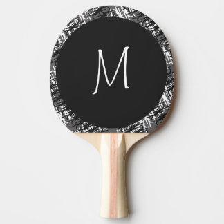 Raquette De Ping Pong Monogramme blanc moderne sur le motif abstrait