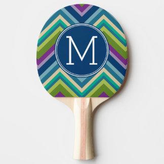 Raquette De Ping Pong Monogramme coloré de coutume de motif de Chevron