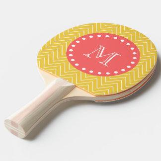 Raquette De Ping Pong Monogramme de corail jaune du motif | de Chevron
