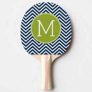 Raquette De Ping Pong Monogramme de coutume de chevrons de bleu marine