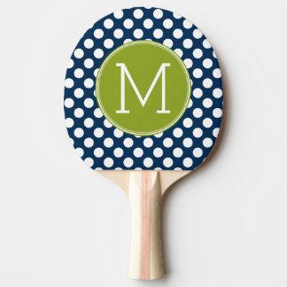 Raquette De Ping Pong Monogramme de coutume de pois de bleu marine et de