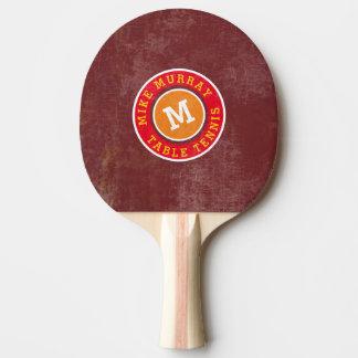 Raquette De Ping Pong monogramme élégant de logo de cercle sur le rouge