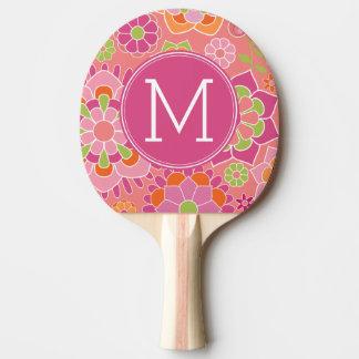 Raquette De Ping Pong Monogramme floral de coutume de motif de ressort