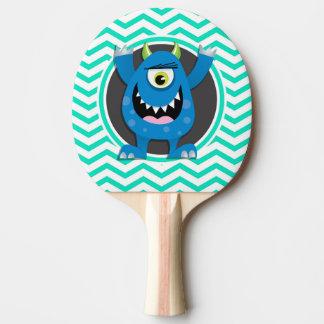Raquette De Ping Pong Monstre bleu ; Aqua Chevron vert