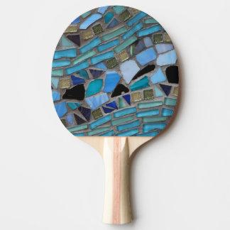 Raquette De Ping Pong Mosaïque bleue en verre de mer