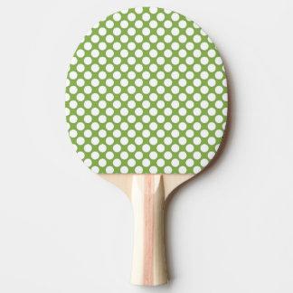 Raquette De Ping Pong Motif abstrait moderne vert de point de polka