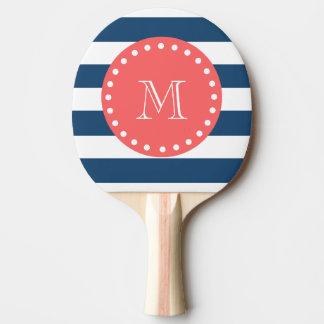 Raquette De Ping Pong Motif blanc de rayures de bleu marine, monogramme