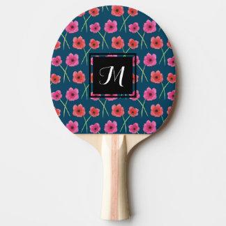 Raquette De Ping Pong Motif de peinture d'aquarelle de fleur d'anémone