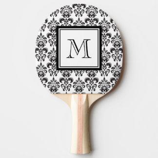 Raquette De Ping Pong Motif noir 2 de damassé avec votre monogramme