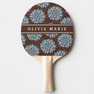 Raquette De Ping Pong Motif nommé de fleur de fleur de bleus layette de