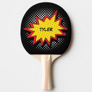 Raquette De Ping Pong Noir nommé coloré de style de bande dessinée