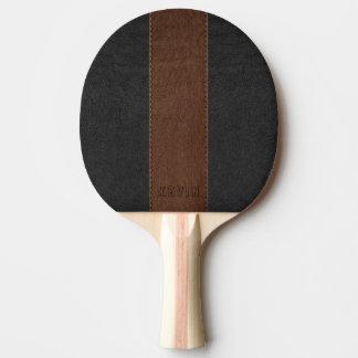 Raquette De Ping Pong Noir vintage élégant et cuir piqué par Brown