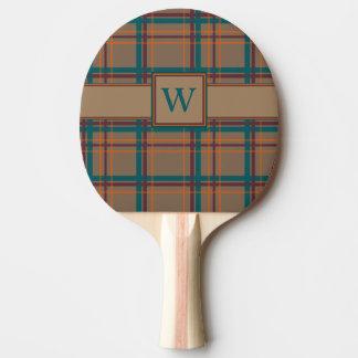 Raquette De Ping Pong Palette chic de ping-pong de plaid d'automne