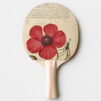 Raquette De Ping Pong Pavot rouge et l'insecte