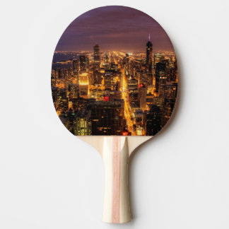 Raquette De Ping Pong Paysage urbain de nuit de Chicago