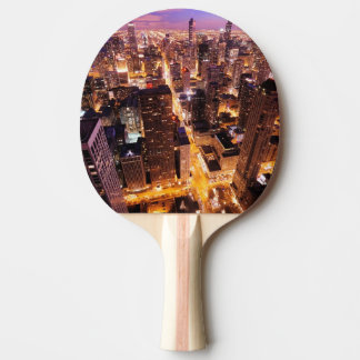 Raquette De Ping Pong Paysage urbain la nuit de Chicago