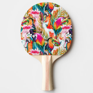 Raquette De Ping Pong Perroquets et palmettes
